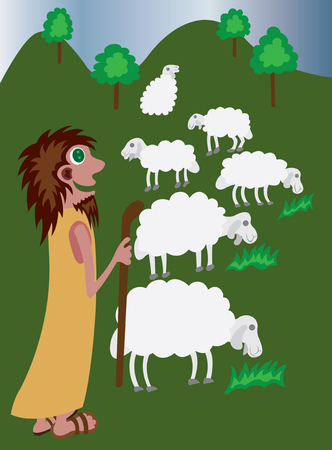 herder: A shepherd herding his ship in the country side, Illustration