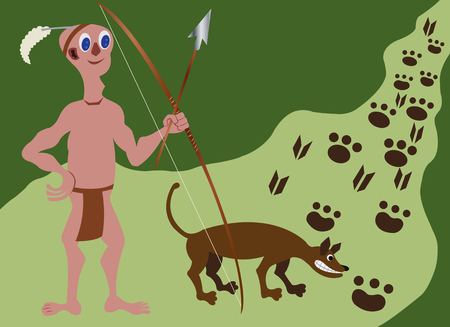 A tribesman hunting wild animals with his dog,