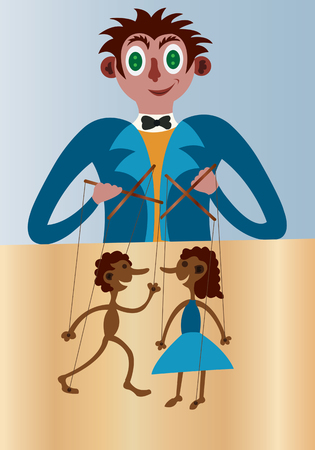 puppets: a puppeteer handling puppets on a stage, Illustration