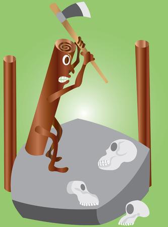 a log cutting skulls,