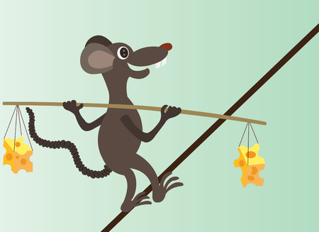 a mouse walking across a tight rope balancing cheese on its back, Illustration