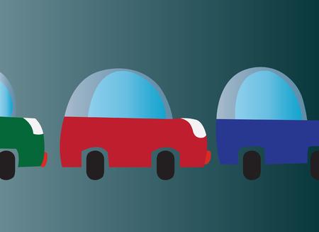 auto's die vastzitten in een file, Stock Illustratie