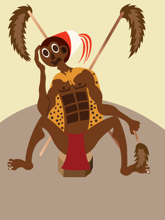 A tribal Chief sitting in his hat