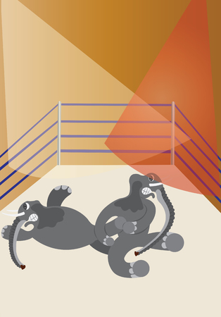 grappling: two big elephants wrestling in a ring