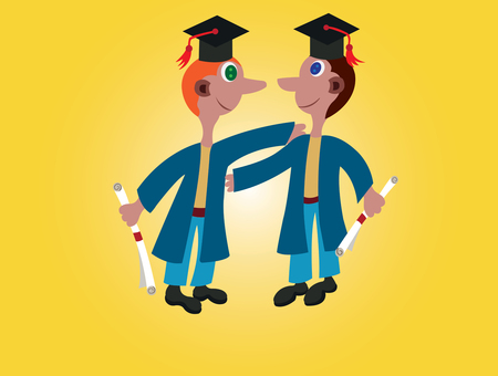scholarly: A pair of Youngsters celebrating their graduation Illustration