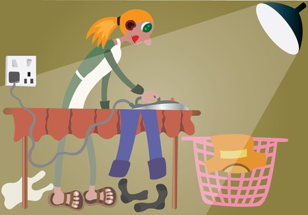 Girl ironing her clothes. Ilustrace