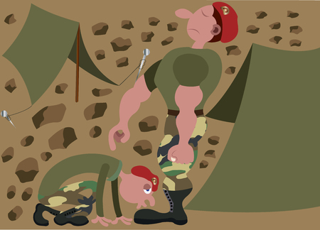A military cadet kissing his commanders boots. Illustration