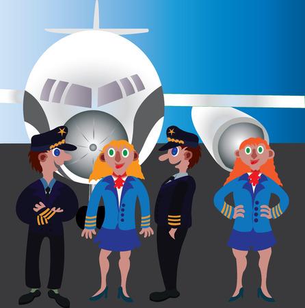 Aircraft crew standing next to a passenger plane.