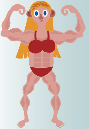 A female bodybuilder and fighter flexes her muscles. Illustration