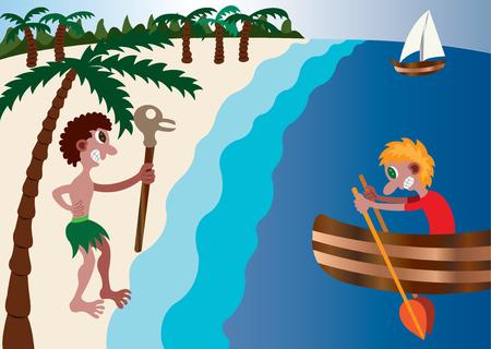 An adventurer visits a Cast away Island