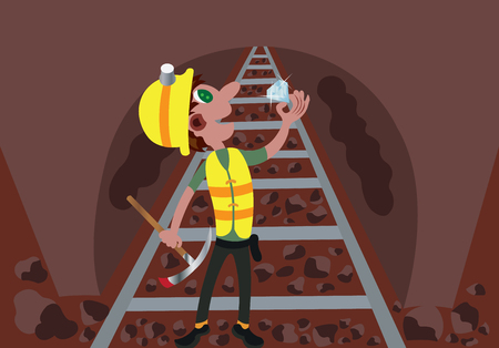 A miner uncovers Precious Gem from a mine site 向量圖像