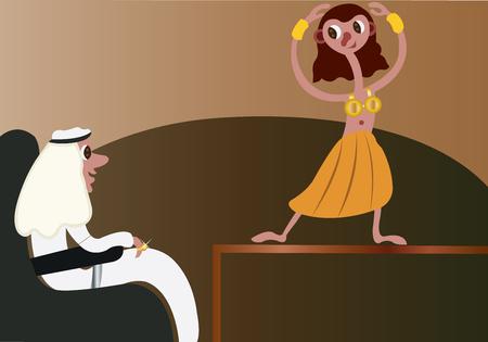 Een buikdanseres die een gast entertaint
