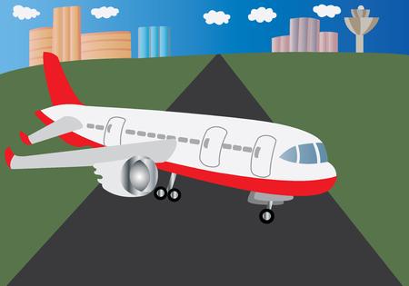 A passenger plane sitting on a runway Иллюстрация