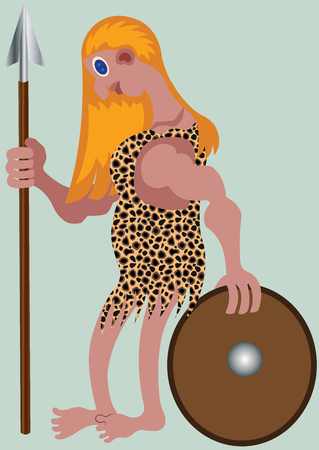 A lady combatant holds a spear and a shield