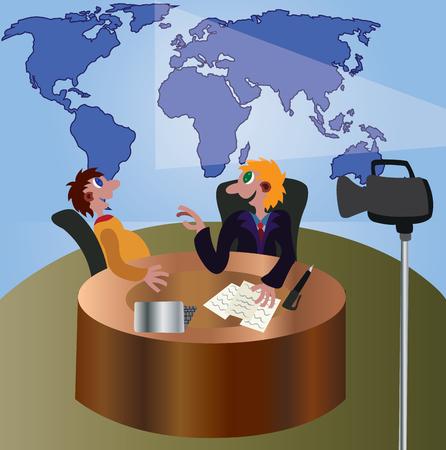 A TV Presenter interviews a guest in a LIVE Presentation