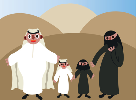 An Arab man standing next to his family.