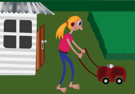 Meisje doet gras maaien. Stock Illustratie