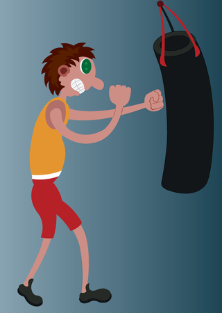 A boxer training himself with a punch bag