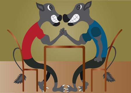 Two big Cats Compete in an arm wrestling contest Ilustração