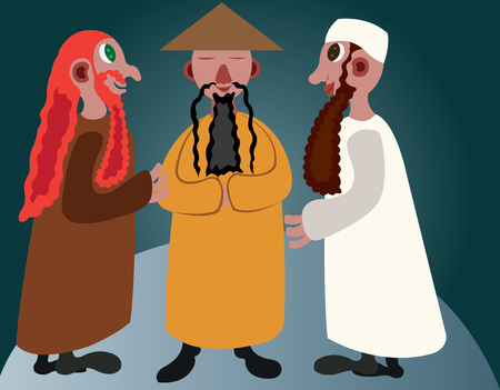 Three men from different continents meet to discuss Ilustrace