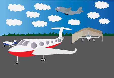 Various aircrafts taxied at an airport Illustration