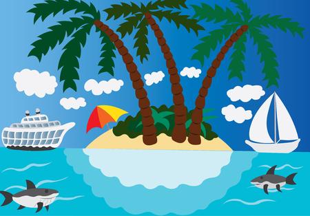 Yachts docked on a luxury Island