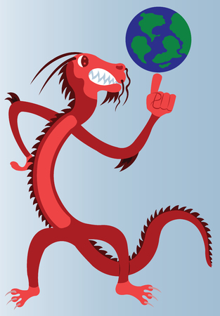 A dragon holding globe in his hand.