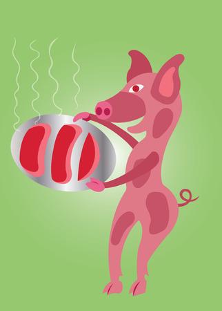 돼지 고기를 접시에 담아 돼지