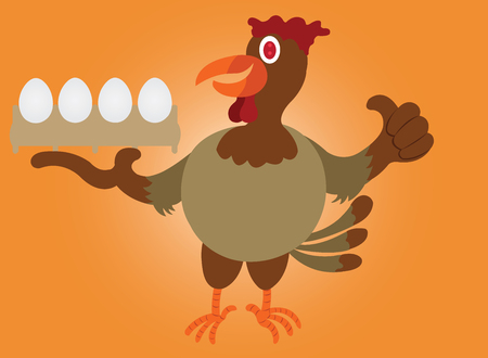 A chicken showing off its eggs Çizim