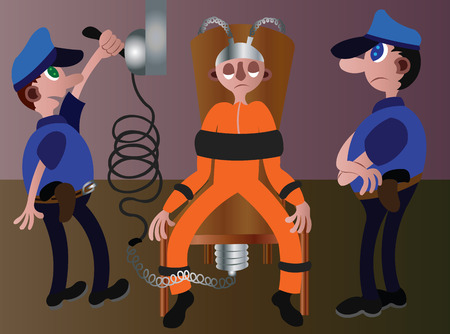 an inmate on death row being executed by electrocution Illustration