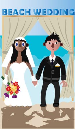 parejas interraciales celebran su boda en una playa