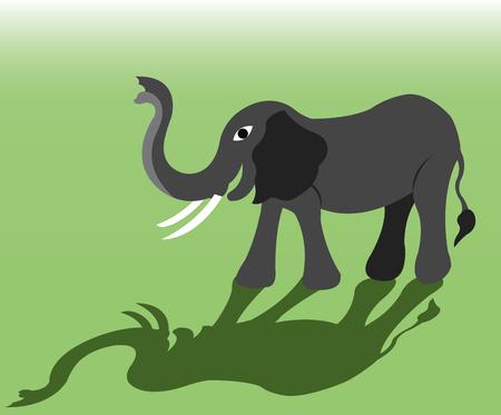 an African elephant raising its trunk