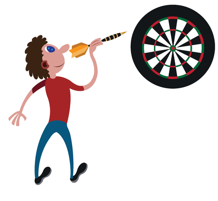 a player ready to throw a dart