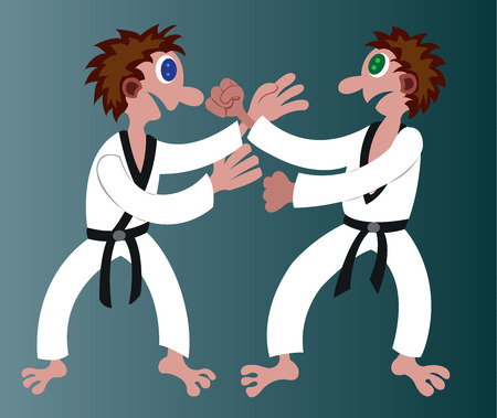 two martial artists hold fists at one another