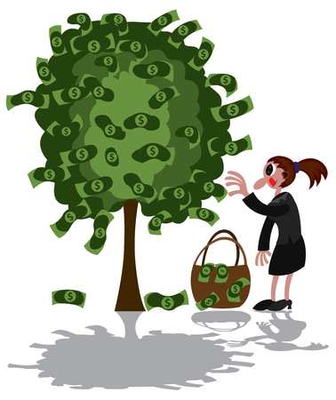 A lady picks money growing from a tree Illustration