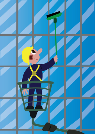 A window cleaner busy at work, Illustration