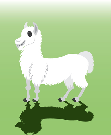 A llama on standing  waiting to carry luggage icon. Illustration