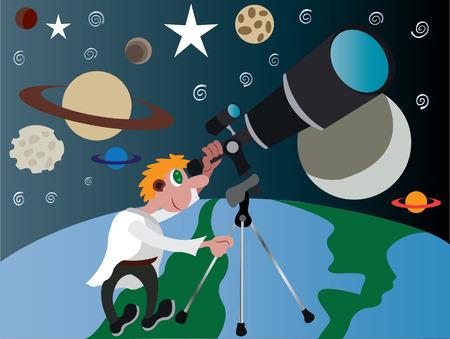 Un astrónomo mira al cielo nocturno,