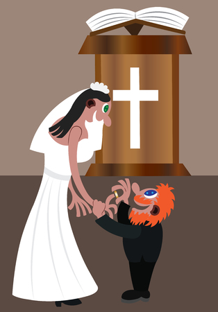A couple exchange vows at the altar Illustration