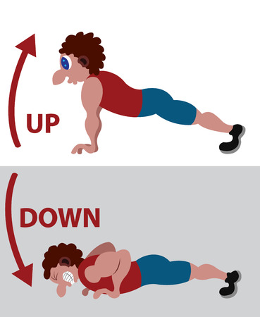 An athlete doing some Push Ups Illustration