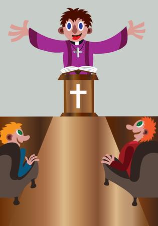 Un predicador dominical dando un sermón