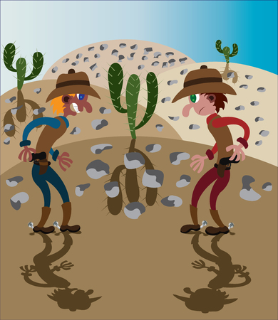 two cowboys ready to have a gunfight Illustration