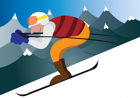 a sportsman skis down the mountainside, Illustration