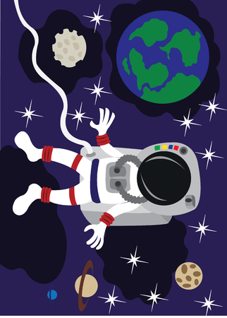 An astronaut floating up in space,