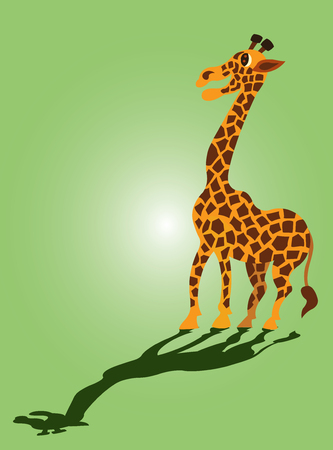 a giraffe stands by