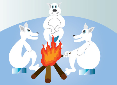 A group of polar bears warm themselves at the fireplace in the Cold Winter Evening Illustration