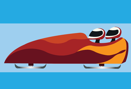athletes ride a bobsleigh in an Olympic game,
