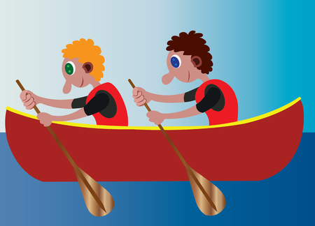 two sportsmen row their boat across shallow waters Illustration