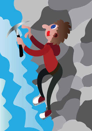 an ice climber scaling a steep rock face Stock Illustratie