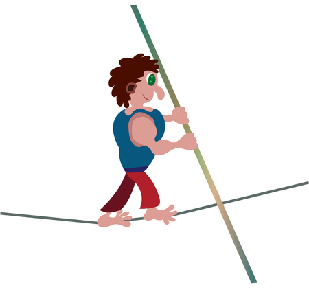 a performer walks barefoot across a tightrope